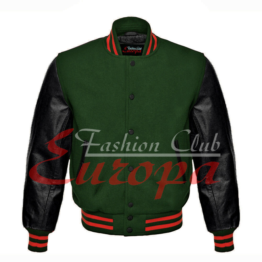 American Unisex Black Real Leather Sleeves Letterman College Varsity Wool Jacket - $86.13 - $101.96