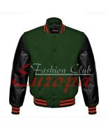American Unisex Black Real Leather Sleeves Letterman College Varsity Wool Jacket - $86.13 - $101.96