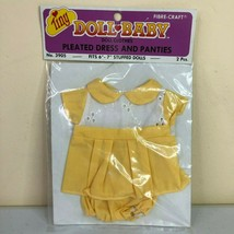 Vintage Tiny Doll Baby Yellow Pleated Dress and Panties Doll Clothes 6-7... - $22.99