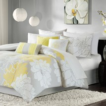 Comforter Set 7 Piece Queen Size Grey and Yellow Flower Printed Cotton - $104.03