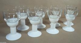 Mid Century Modern 8 PVC Plastic Stem Glass Bowl Shot Glasses White Retro  - $8.00