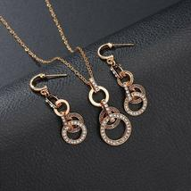 TwoLayer Size Circle of Love Earrings Necklace Jewelry Set image 4