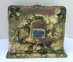 Antique Victorian Velvet Standing Photo Album Liberty Bell Mirror Empty ... - $116.88