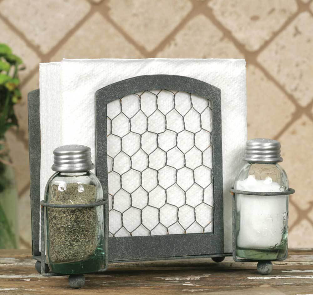Chicken Wire Country Style Napkin Holder Mason Jar Salt and Pepper Shaker Set