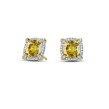 Cushion Cut Yellow Sapphire 14k Gold Plated 925 Pure Silver Fancy Stud Earrings - $48.45