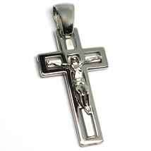 SOLID 18K WHITE GOLD JESUS CROSS PENDANT BIG 40mm SQUARED SMOOTH SATIN ALTERNATE image 2