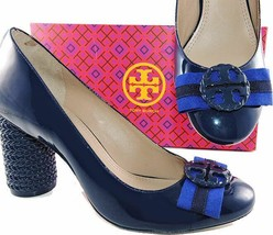 17acebdda  350 Tory Burch Navy Patent Leather Maritime Pumps Blue Logo Bow Shoes 8.