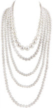 GRACE JUN Multilayer Strand Chain White Faux Pearls Flapper Beads Cluste... - $38.16