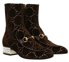 NIB GUCCI horsebit GG velvet crystal heel ankle boots IT 38.5; Rtl $1590 - $890.99