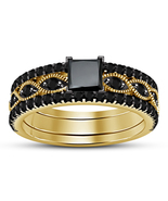 Yellow Gold Fn. Princess & Round Cut Black CZ Engagement & Wedding Trio ... - $131.25
