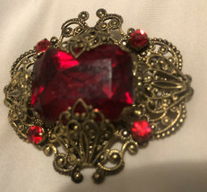 Vintage Red  Foil Back  Rhinestone Gold Tone Pin Brooch Bevel Cut - $39.57