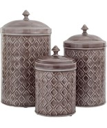 SET OF 3 GREY EMBOSSED METAL CANISTERS LARGE/MEDIUM/SMALL - $79.15