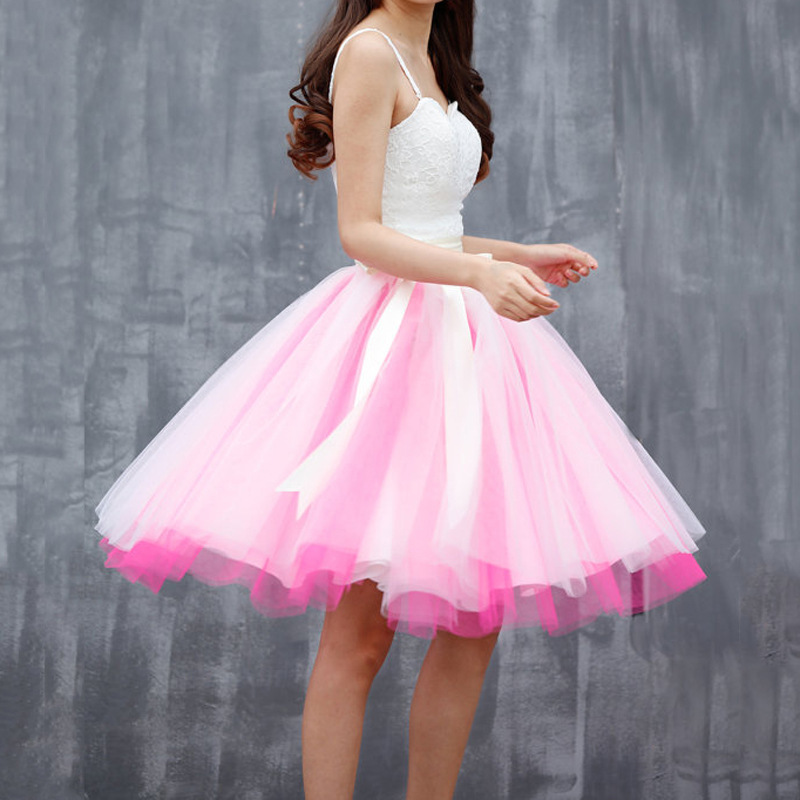 White Pink Tutu Tulle Skirt Puffy 4 Layered Party Full Circle Tulle Skirt Knee