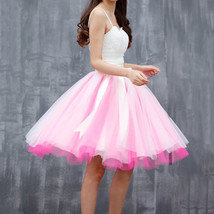 White Pink Tutu Tulle Skirt Puffy 4 Layered Party Full Circle Tulle Skirt Knee  image 1