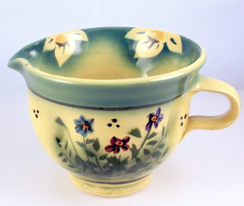 Aldrich Valley Pottery creamer pitcher wildflower design Missouri USA