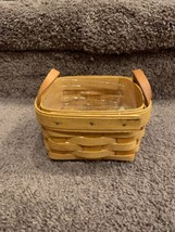 """Vintage Longaberger Basket Small Berry Square 4.5"""" W / Leather Handle 1995 - $18.50"""