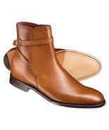 Handmade men,s fashion jodhpurs ankle boots,Men Tan ankle high jodhpur b... - $159.99+