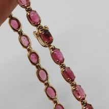 Bracelet Gold Pink 9k Type Tennis with Tourmaline Pink, Made in Italy image 3