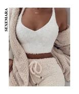 BOOFEENAA Cute Sexy Fuzzy White Crop Top Cami Women Casual Tops Deep V N... - $23.17