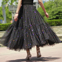 Black Tulle Party Skirt Women Tiered Layered Tulle Skirt Tulle Party Skirt Plus image 1