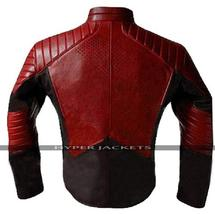 New Superman Maroon & Black Leather Jacket image 2
