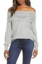Gibson Cozy Fleece Convertible Neck Pullover Top In Heather Gray Size XS - $17.39