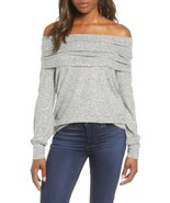 Gibson Cozy Fleece Convertible Neck Pullover Top In Heather Gray Size XS - $17.39