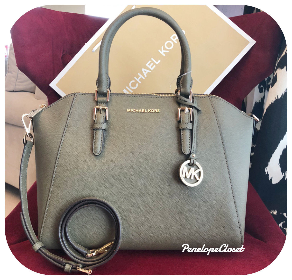 1bfb4148197d19 NWT MICHAEL KORS SAFFIANO LEATHER CIARA LARGE TOP ZIP SATCHEL BAG IN OLIVE