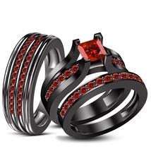 His Her Wedding Red Garnet Trio Ring Set 14k Black Gold Over 925 Sterlin... - $164.99
