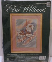 "VTG NIP Elsa Williams Needlepoint Graceful Carousel 10"" x 14"" Horse Pastel Color - $42.07"