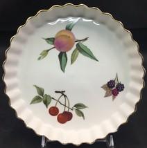 "Beautiful Royal Worcester ""Evesham"" Ruffled Edge Pie Quiche Plate 7.75"" - $20.00"