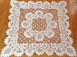 Vintage Victorian Hand Made Lace Table Cover Table Clothes - $74.36