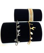 Two  Black Velvet Half Moon Bracelet Watch Jewelry Display Showcase - $16.50