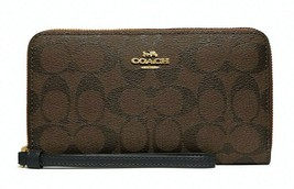 New Coach 73418 Large Phone wallet Coated Canvas with Leather Brown / Black - $64.00