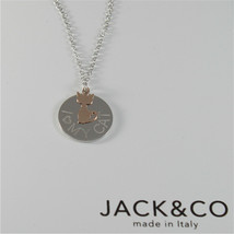 Silver Necklace 925 Jack&co with Heart Dog or Cat in Rose Gold 9KT 60 CM image 2