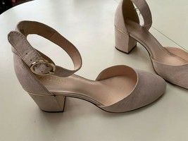 Nine West pale tan 2 inch man made suede ankle strap women's shoes 9 1/2 M - $29.00