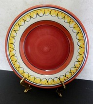 Pier 1 Del Sol Dinner Plate Red Orange Yellow Hand Painted Earthenware - $12.75