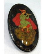 Vintage Russian Black Lacquer Pin Red White Green Woman Playing Flute Si... - $18.97
