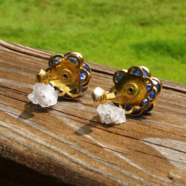 Vintage Avon Blue Crystal Flower Clip Earrings