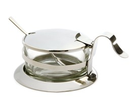 Norpro Condiment Dish Server With Spoon Stainless Steel Glass Jam Salsa ... - €17,28 EUR