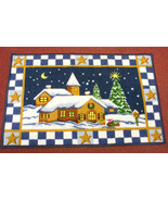 CHRISTMAS HOLIDAY VILLAGE SCENE ACCENT RUG DOORMAT CHRISTMAS DECORATION - $15.88