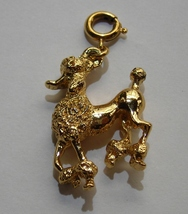 Monet Vintage Gold Tone Toned Poodle Dog Charm Signed - $12.00