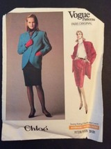 Vogue Designer Sewing Pattern Chloe 2131 Coat Jacket Skirt 12 1980s Style Uncut - $16.06