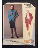 Vogue Designer Sewing Pattern Chloe 2131 Coat Jacket Skirt 12 1980s Styl... - $12.30