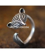 Adjustable Fox Ring Women Girls Antique Silver Tone Animal Ring Unique Gift - $16.98