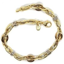 18K YELLOW WHITE ROSE GOLD BRACELET, ALTERNATE CIRCLES AND OVALS, MADE IN ITALY image 2