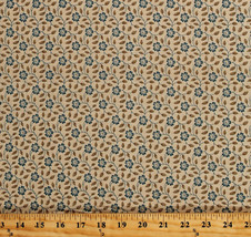 Something Blue Edyta Sitar Flowers Floral Ecru Cotton Fabric Print BTY D... - $12.49