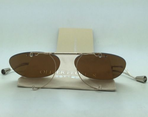 New OLIVER PEOPLES 5036C 5039 Sheldrake Flip-up Clip-on Gold w/ Brown Polarized