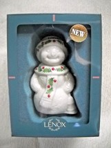 Vintage 1998 Lenox Holiday Snowman Porcelain Ornament In Original Box - $7.50