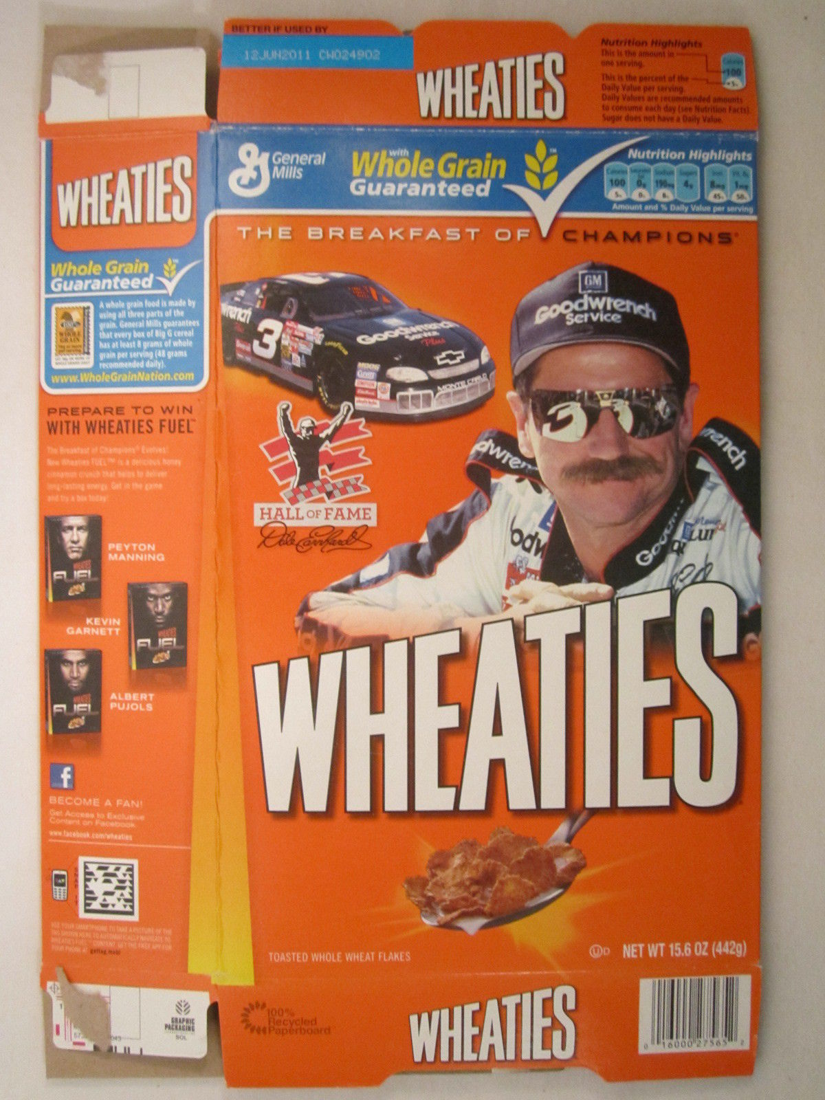 Empty WHEATIES Box 2010 15.6oz DALE EARNHARDT Sr Hall of Fame [Z202d2] - $6.38